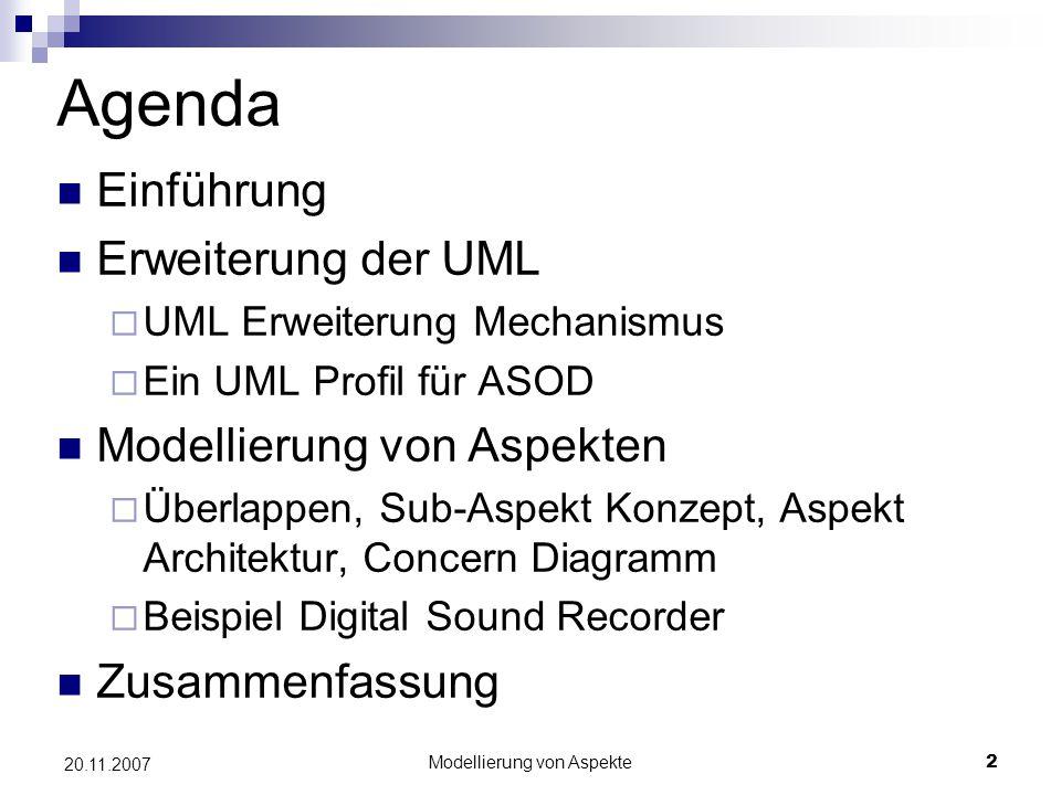 Modellierung von Aspekte2 20.11.2007 Agenda Einführung Erweiterung der UML  UML Erweiterung Mechanismus  Ein UML Profil für ASOD Modellierung von As
