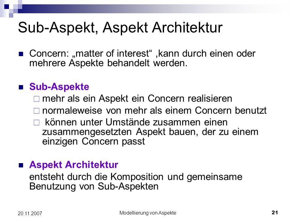 """Modellierung von Aspekte21 20.11.2007 Sub-Aspekt, Aspekt Architektur Concern: """"matter of interest ,kann durch einen oder mehrere Aspekte behandelt werden."""