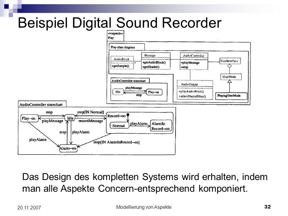 Modellierung von Aspekte32 20.11.2007 Beispiel Digital Sound Recorder Das Design des kompletten Systems wird erhalten, indem man alle Aspekte Concern-entsprechend komponiert.