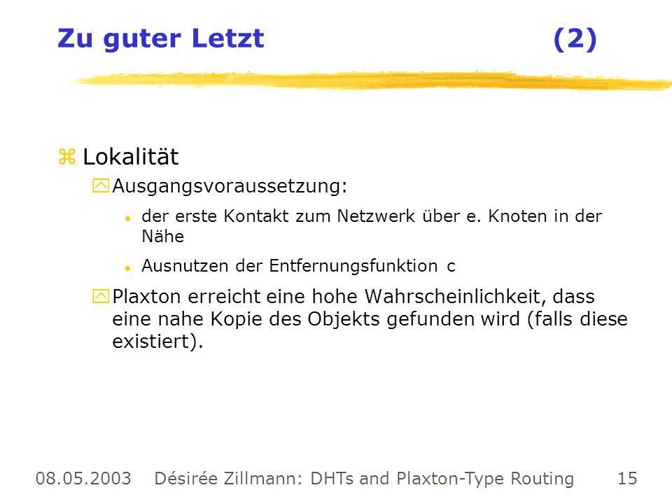 08.05.2003 Désirée Zillmann: DHTs and Plaxton-Type Routing 15 Zu guter Letzt (2) zLokalität yAusgangsvoraussetzung: l der erste Kontakt zum Netzwerk ü