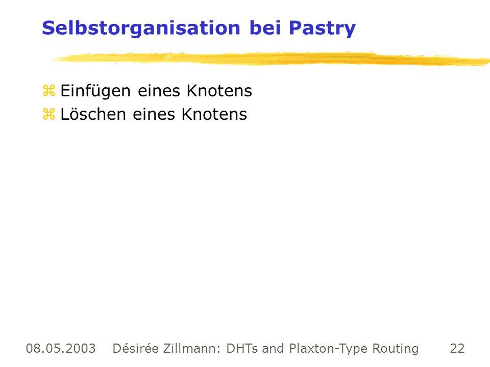 08.05.2003 Désirée Zillmann: DHTs and Plaxton-Type Routing 22 Selbstorganisation bei Pastry zEinfügen eines Knotens zLöschen eines Knotens