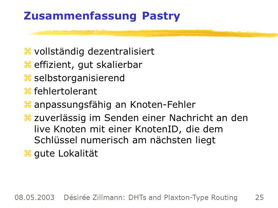 08.05.2003 Désirée Zillmann: DHTs and Plaxton-Type Routing 25 Zusammenfassung Pastry zvollständig dezentralisiert zeffizient, gut skalierbar zselbstor