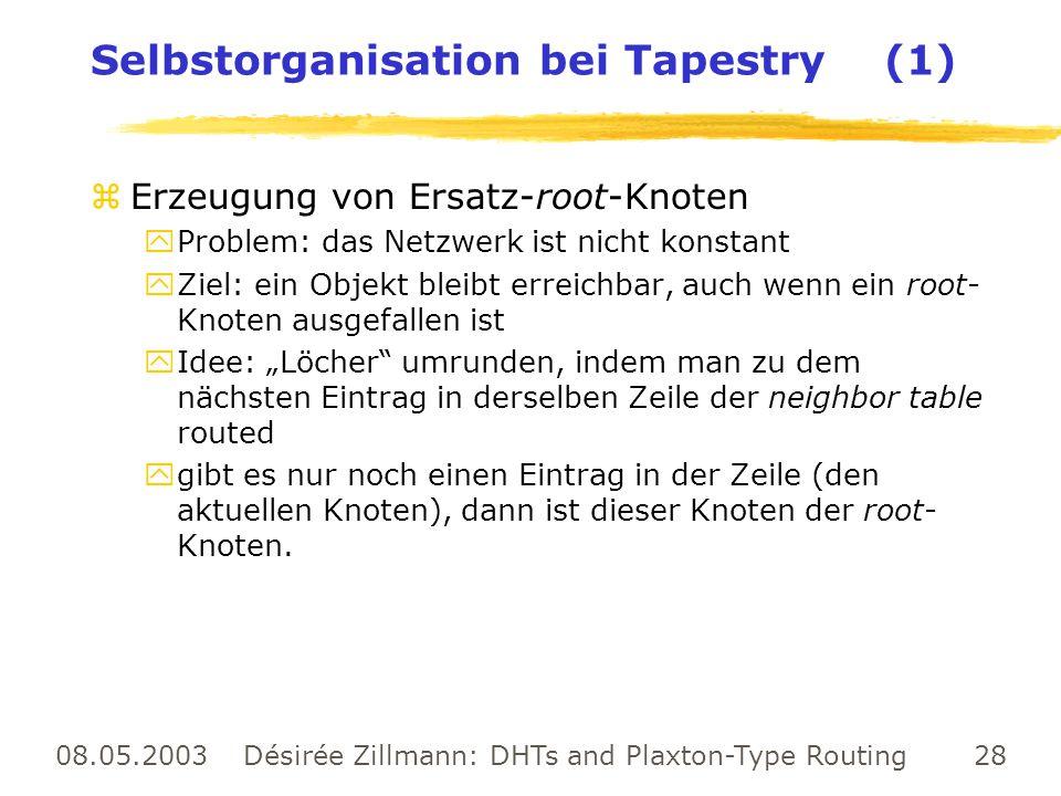 08.05.2003 Désirée Zillmann: DHTs and Plaxton-Type Routing 28 Selbstorganisation bei Tapestry (1) zErzeugung von Ersatz-root-Knoten yProblem: das Netz