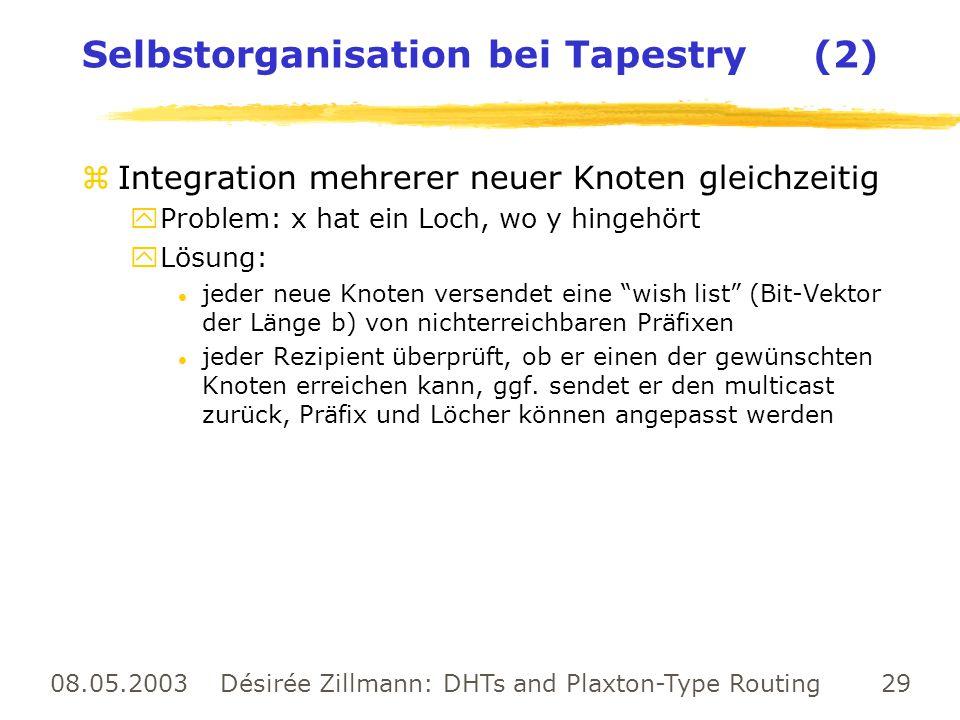 08.05.2003 Désirée Zillmann: DHTs and Plaxton-Type Routing 29 Selbstorganisation bei Tapestry (2) zIntegration mehrerer neuer Knoten gleichzeitig yPro