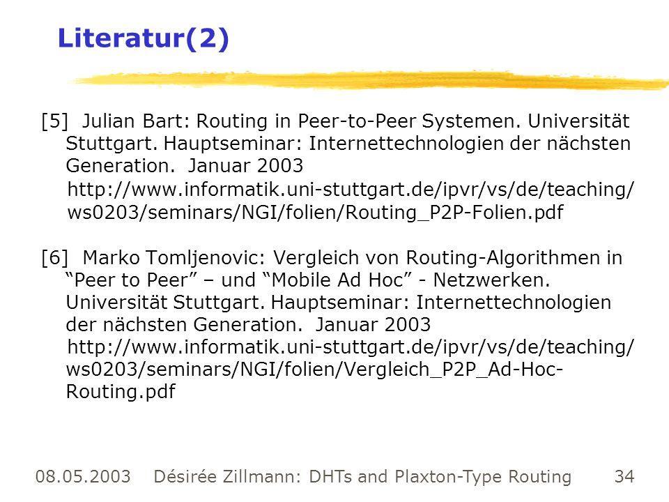 08.05.2003 Désirée Zillmann: DHTs and Plaxton-Type Routing 34 Literatur(2) [5] Julian Bart: Routing in Peer-to-Peer Systemen. Universität Stuttgart. H