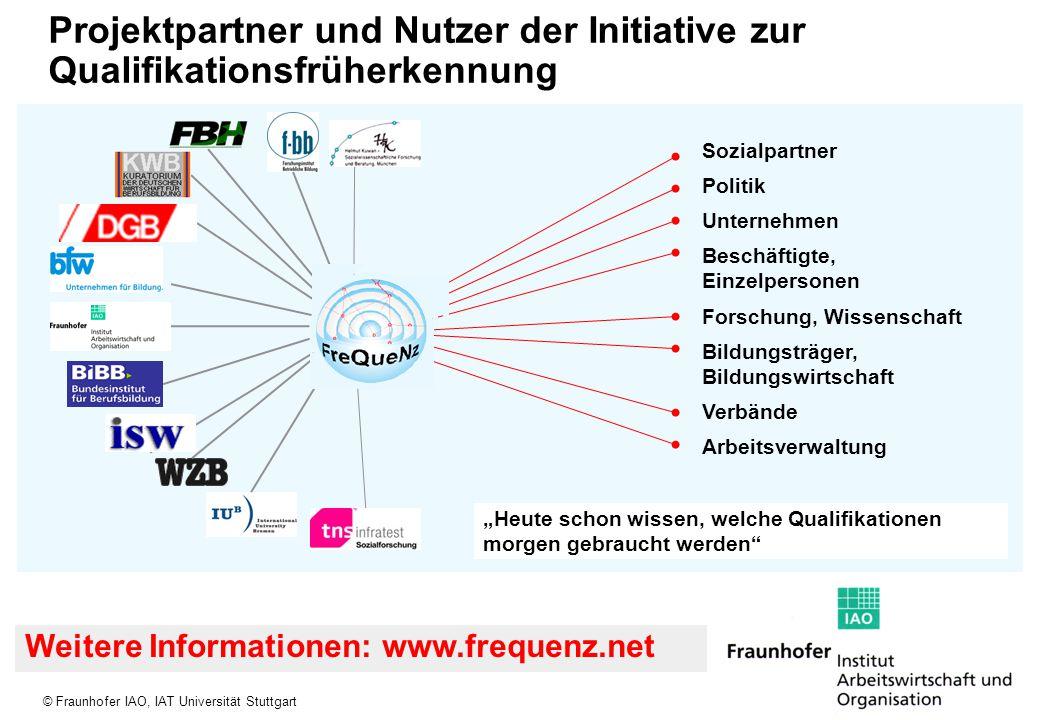 © Fraunhofer IAO, IAT Universität Stuttgart Projektpartner und Nutzer der Initiative zur Qualifikationsfrüherkennung Sozialpartner Politik Unternehmen