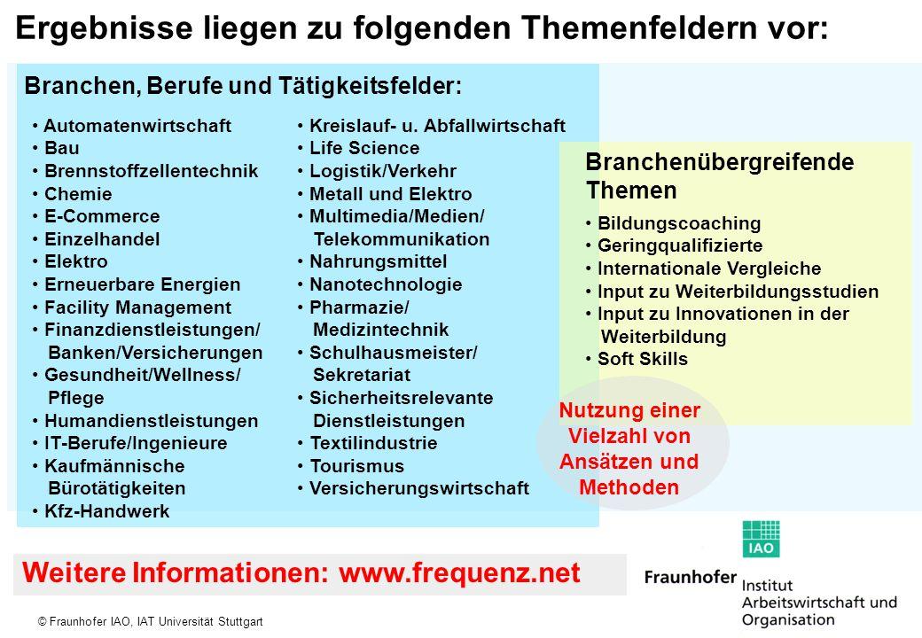 © Fraunhofer IAO, IAT Universität Stuttgart Ergebnisse liegen zu folgenden Themenfeldern vor: Automatenwirtschaft Bau Brennstoffzellentechnik Chemie E