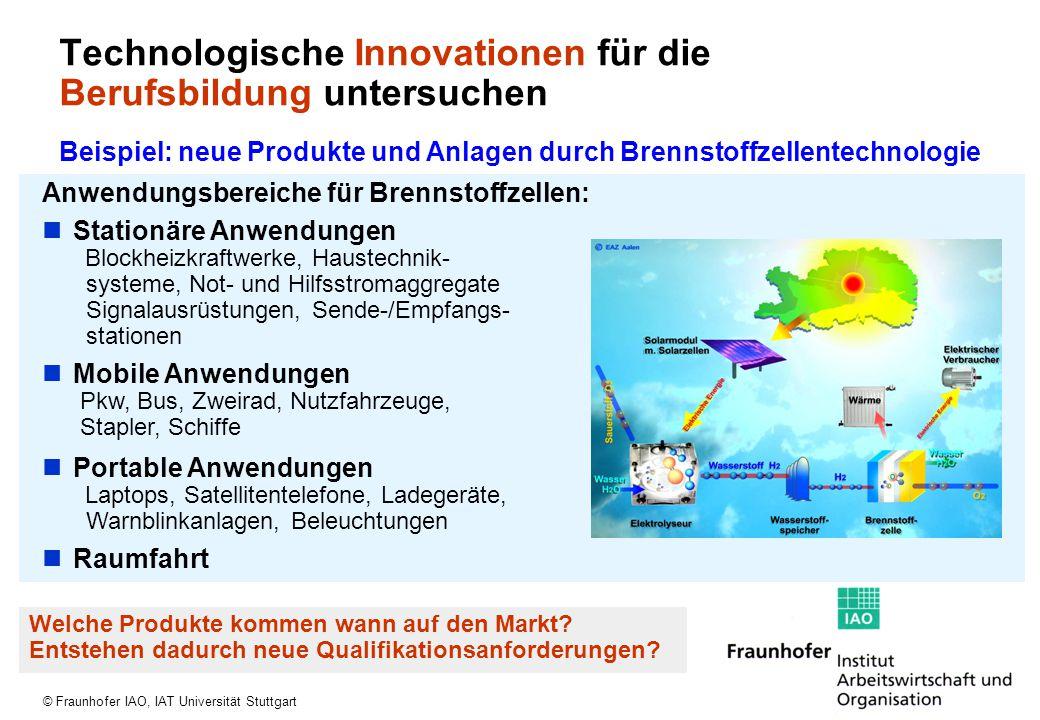 © Fraunhofer IAO, IAT Universität Stuttgart Anwendungsbereiche für Brennstoffzellen: Stationäre Anwendungen Blockheizkraftwerke, Haustechnik- systeme,