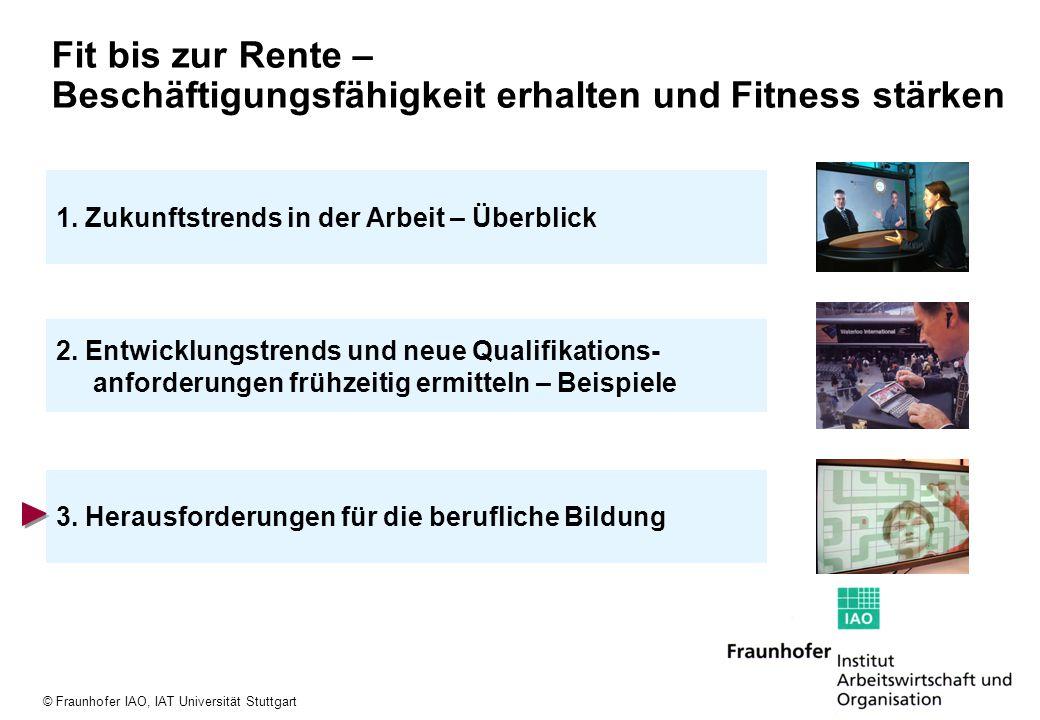 © Fraunhofer IAO, IAT Universität Stuttgart 2. Entwicklungstrends und neue Qualifikations- anforderungen frühzeitig ermitteln – Beispiele 3. Herausfor