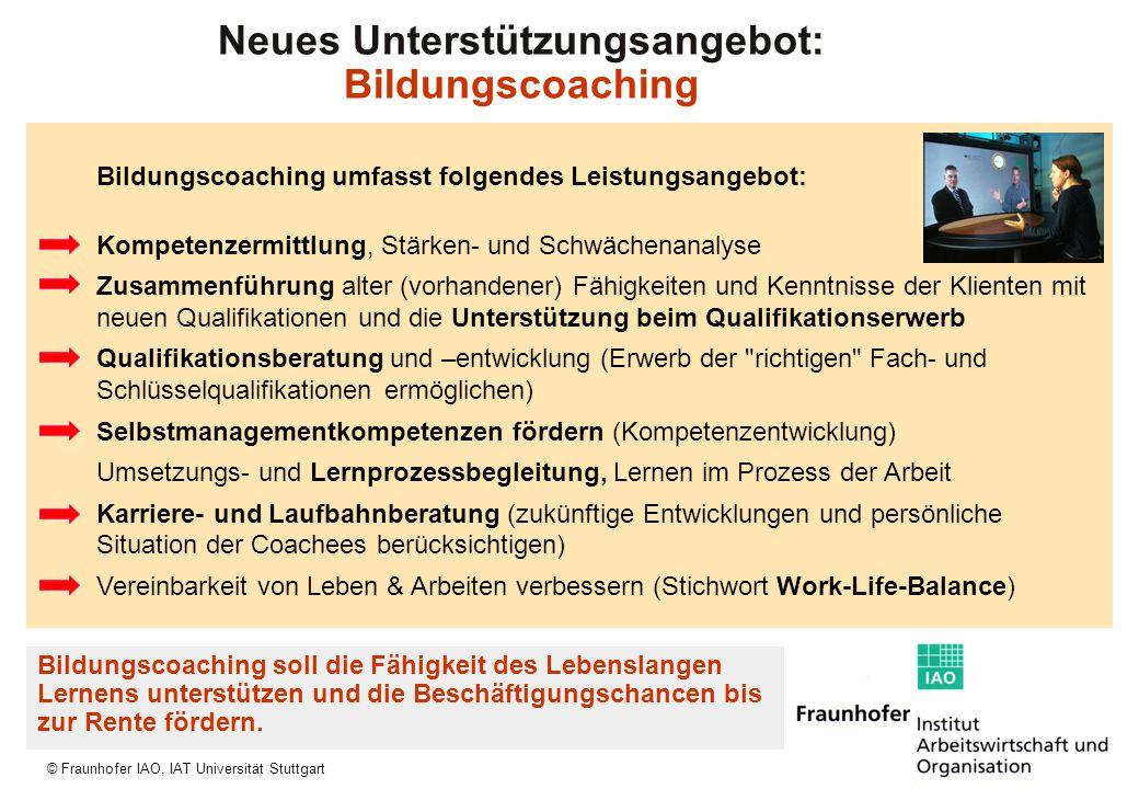 © Fraunhofer IAO, IAT Universität Stuttgart Bildungscoaching umfasst folgendes Leistungsangebot: Kompetenzermittlung, Stärken- und Schwächenanalyse Zu