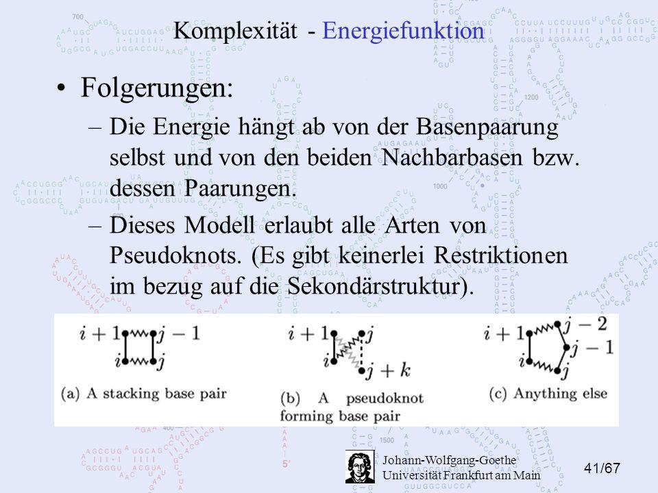 41/67 Johann-Wolfgang-Goethe Universität Frankfurt am Main Komplexität - Energiefunktion Folgerungen: –Die Energie hängt ab von der Basenpaarung selbst und von den beiden Nachbarbasen bzw.
