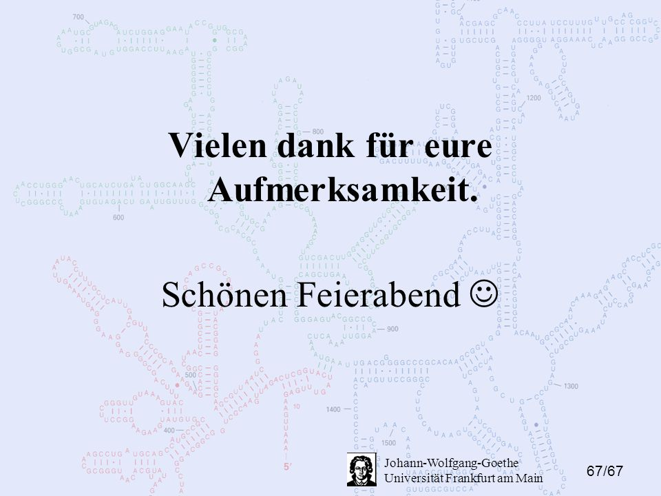 67/67 Johann-Wolfgang-Goethe Universität Frankfurt am Main Vielen dank für eure Aufmerksamkeit.