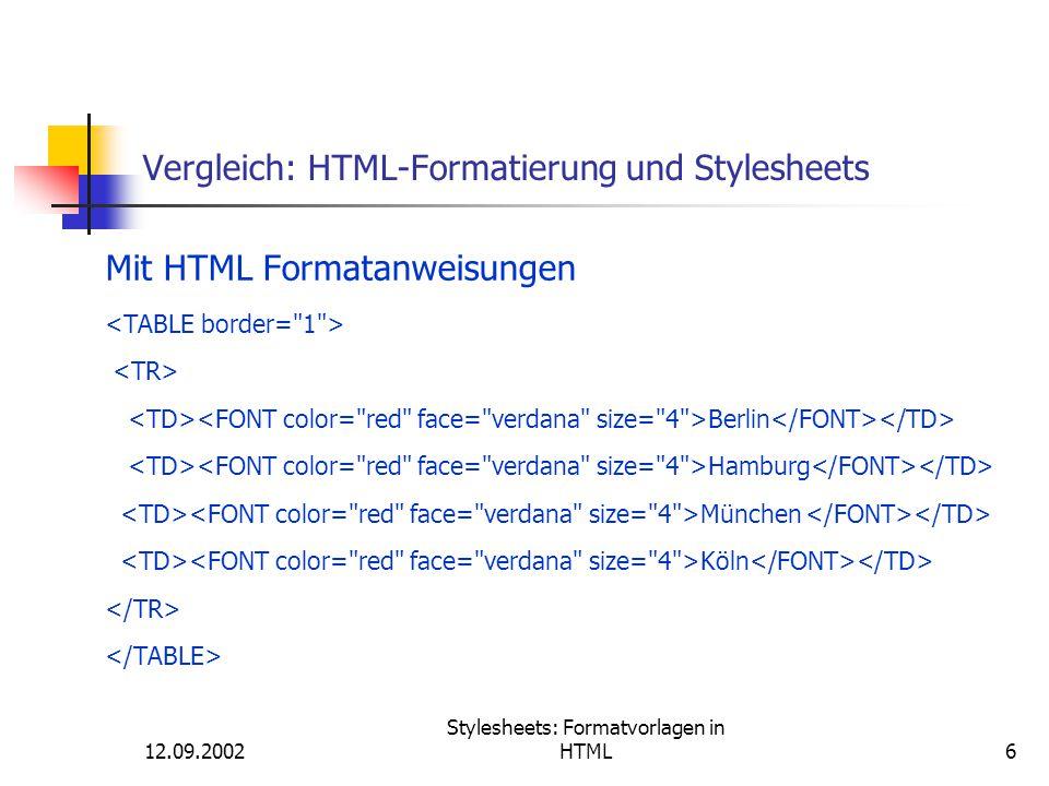 12.09.2002 Stylesheets: Formatvorlagen in HTML27 Definieren von Stylesheets Inline (Direktformatierung einzelner Elemente) Syntax: <HTML-Selector style= Eigenschaft1:Wert; Eigenschaft2:Wert; …; >