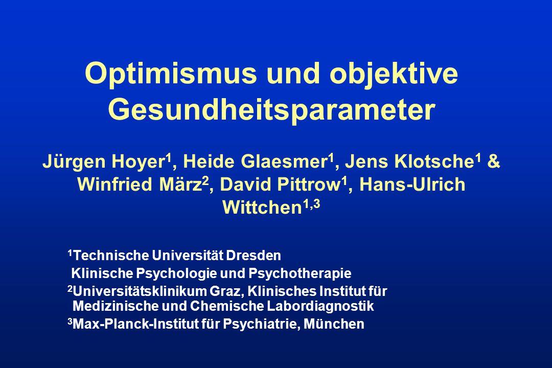 Optimismus und objektive Gesundheitsparameter Jürgen Hoyer 1, Heide Glaesmer 1, Jens Klotsche 1 & Winfried März 2, David Pittrow 1, Hans-Ulrich Wittch