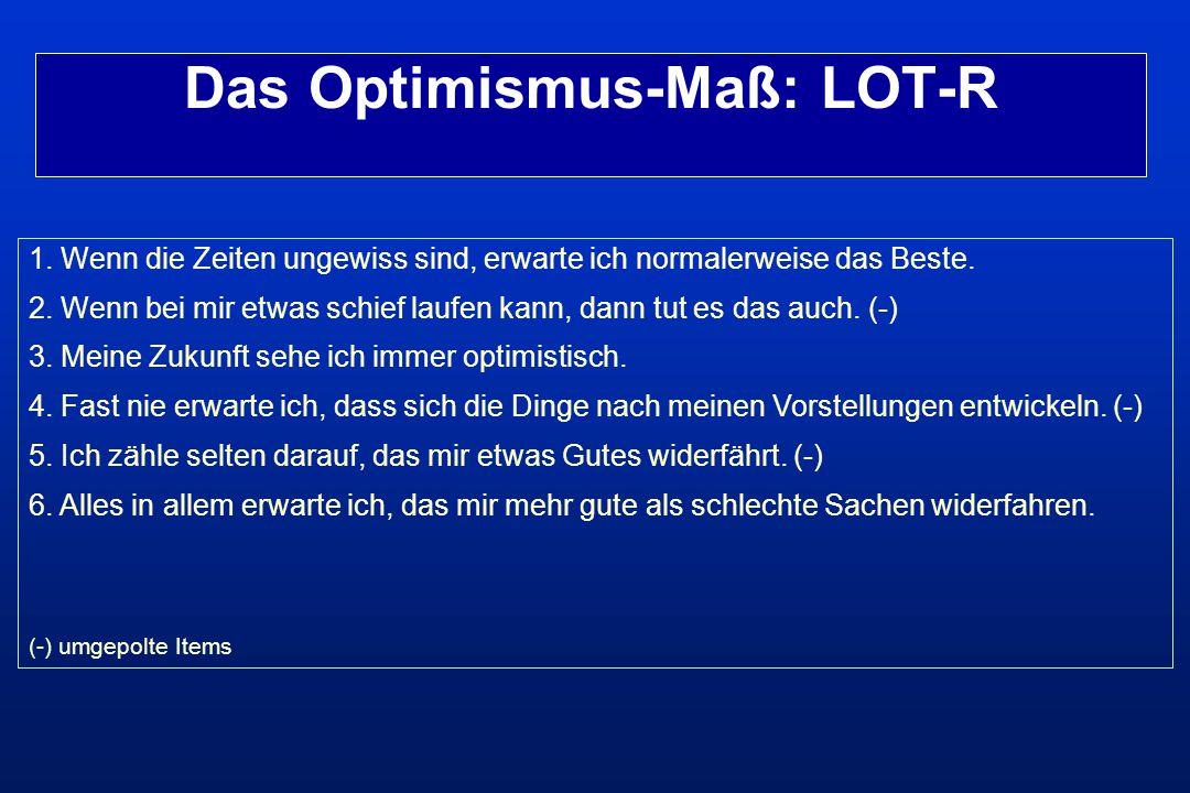 Das Optimismus-Maß: LOT-R 1. Wenn die Zeiten ungewiss sind, erwarte ich normalerweise das Beste. 2. Wenn bei mir etwas schief laufen kann, dann tut es