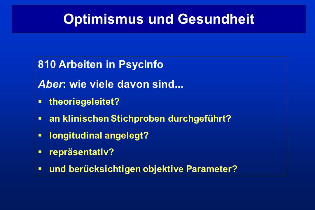810 Arbeiten in PsycInfo Aber: wie viele davon sind...  theoriegeleitet?  an klinischen Stichproben durchgeführt?  longitudinal angelegt?  repräse