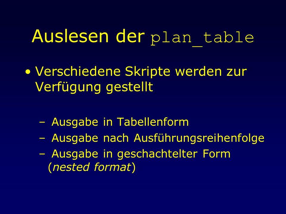Auslesen der plan_table Verschiedene Skripte werden zur Verfügung gestellt – Ausgabe in Tabellenform – Ausgabe nach Ausführungsreihenfolge – Ausgabe in geschachtelter Form (nested format)
