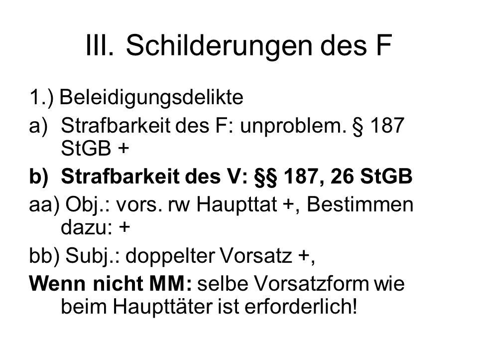 III. Schilderungen des F 1.) Beleidigungsdelikte a)Strafbarkeit des F: unproblem.