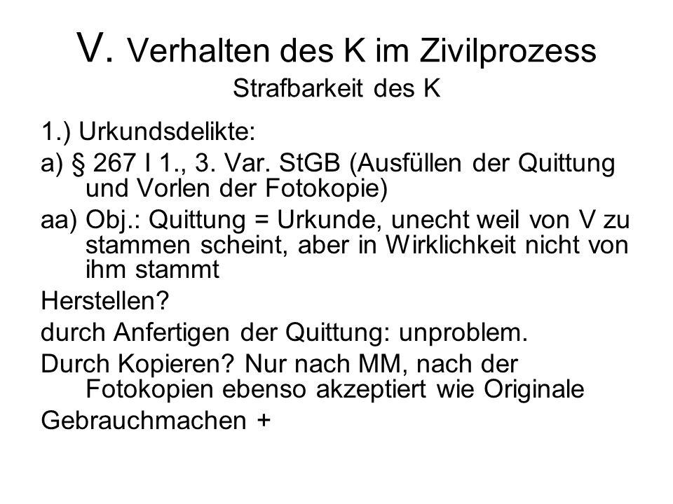 V. Verhalten des K im Zivilprozess Strafbarkeit des K 1.) Urkundsdelikte: a) § 267 I 1., 3.