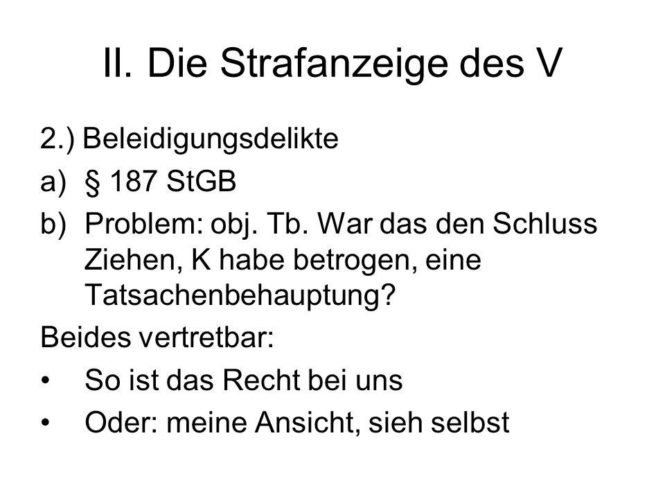 II. Die Strafanzeige des V 2.) Beleidigungsdelikte a)§ 187 StGB b)Problem: obj.