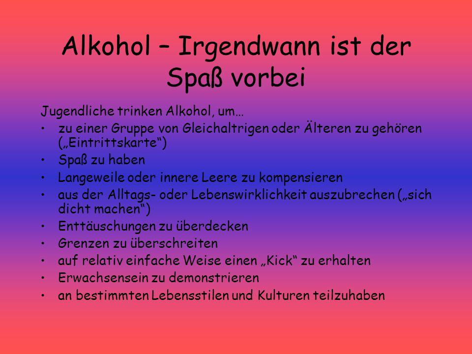 """Alkohol – Irgendwann ist der Spaß vorbei Jugendliche trinken Alkohol, um… zu einer Gruppe von Gleichaltrigen oder Älteren zu gehören (""""Eintrittskarte"""""""