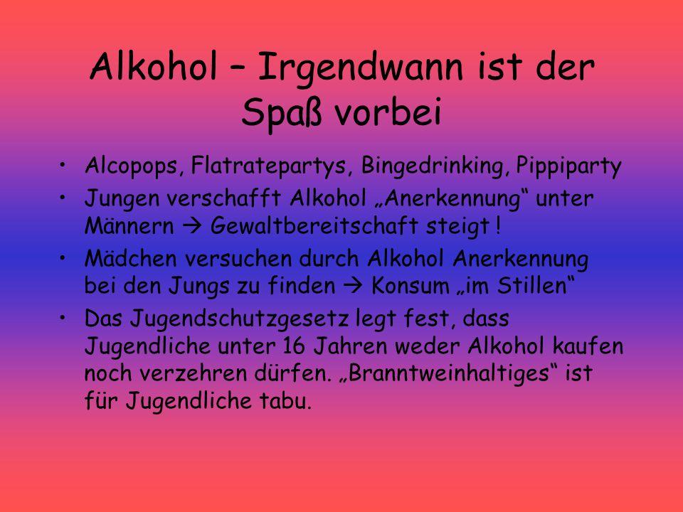 """Alkohol – Irgendwann ist der Spaß vorbei Alcopops, Flatratepartys, Bingedrinking, Pippiparty Jungen verschafft Alkohol """"Anerkennung"""" unter Männern  G"""