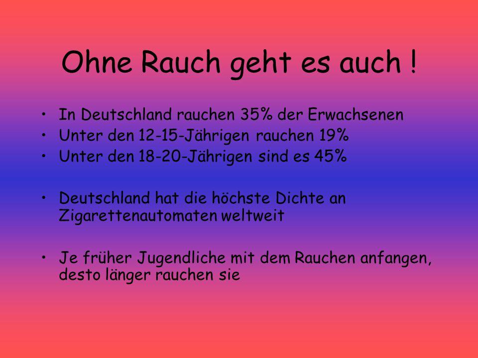 Ohne Rauch geht es auch ! In Deutschland rauchen 35% der Erwachsenen Unter den 12-15-Jährigen rauchen 19% Unter den 18-20-Jährigen sind es 45% Deutsch