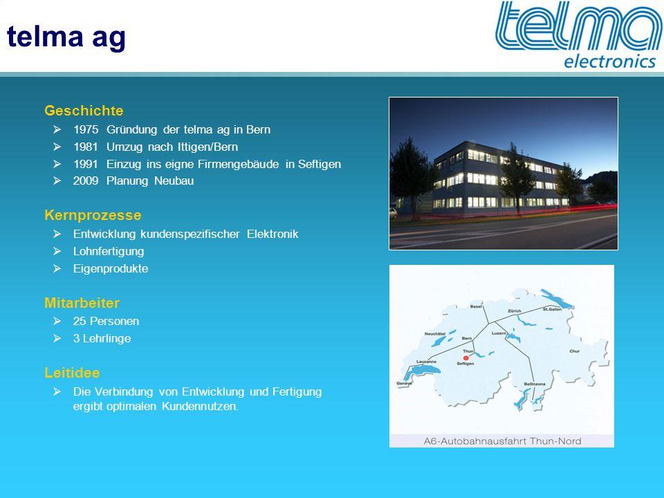 telma ag  Geschichte  1975 Gründung der telma ag in Bern  1981 Umzug nach Ittigen/Bern  1991 Einzug ins eigne Firmengebäude in Seftigen  2009 Pla