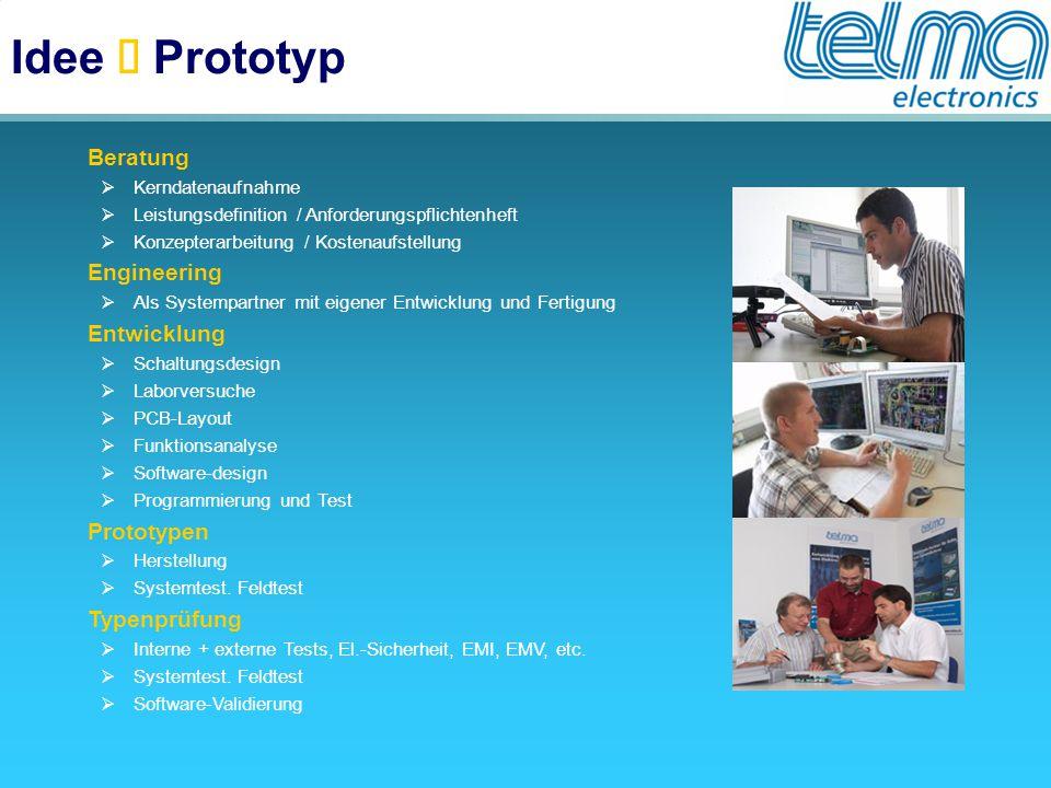 Idee  Prototyp  Beratung  Kerndatenaufnahme  Leistungsdefinition / Anforderungspflichtenheft  Konzepterarbeitung / Kostenaufstellung  Engineerin
