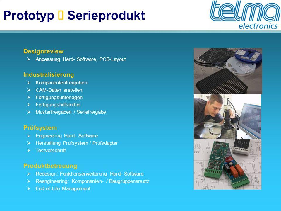 Prototyp  Serieprodukt  Designreview  Anpassung Hard- Software, PCB-Layout  Industralisierung  Komponentenfreigaben  CAM-Daten erstellen  Ferti