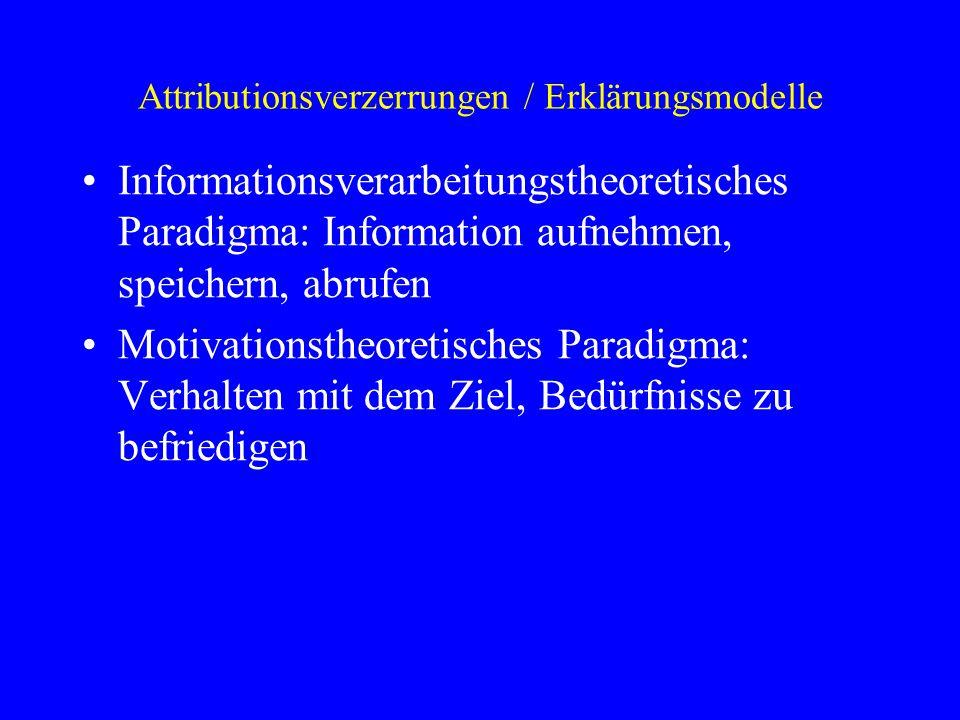 Attributionsverzerrungen / Erklärungsmodelle Informationsverarbeitungstheoretisches Paradigma: Information aufnehmen, speichern, abrufen Motivationsth
