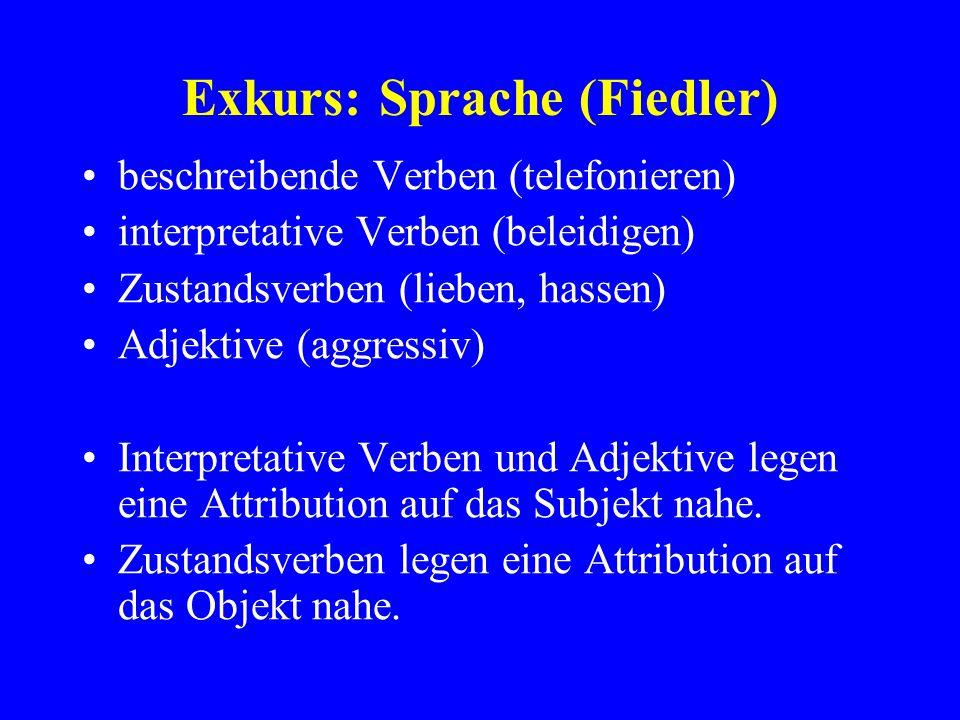 Exkurs: Sprache (Fiedler) beschreibende Verben (telefonieren) interpretative Verben (beleidigen) Zustandsverben (lieben, hassen) Adjektive (aggressiv)