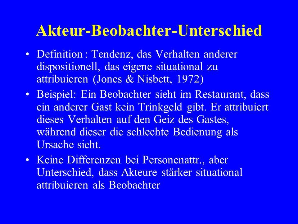 Akteur-Beobachter-Unterschied Definition: Tendenz, das Verhalten anderer dispositionell, das eigene situational zu attribuieren (Jones & Nisbett, 1972