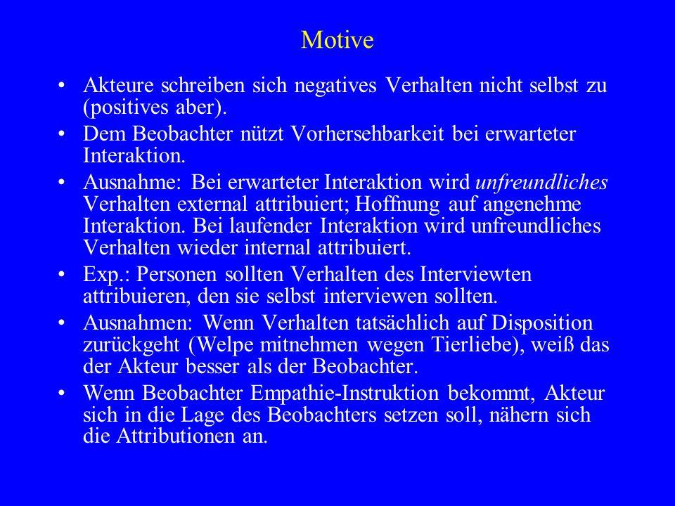 Motive Akteure schreiben sich negatives Verhalten nicht selbst zu (positives aber). Dem Beobachter nützt Vorhersehbarkeit bei erwarteter Interaktion.