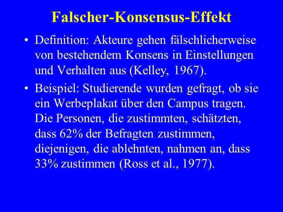 Falscher-Konsensus-Effekt Definition: Akteure gehen fälschlicherweise von bestehendem Konsens in Einstellungen und Verhalten aus (Kelley, 1967). Beisp