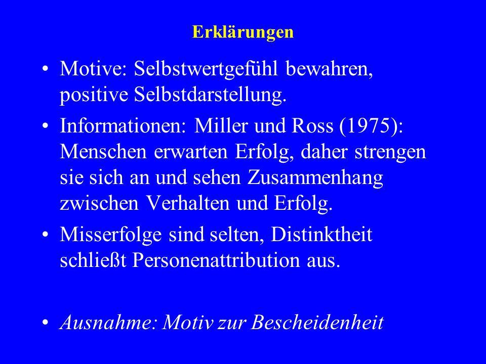Erklärungen Motive: Selbstwertgefühl bewahren, positive Selbstdarstellung. Informationen: Miller und Ross (1975): Menschen erwarten Erfolg, daher stre