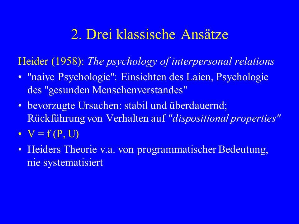 Jones & Davis (1965): Theorie der korrespondierenden Schlussfolgerungen Zwei Stufen: 1.Zuschreibung von Intention (Wissen, Fähigkeit, Wahlfreiheit) 2.Zuschreibung einer Disposition (eigtl.