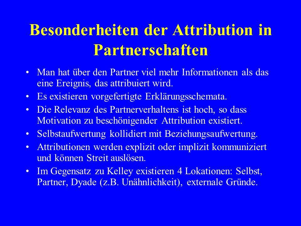 Besonderheiten der Attribution in Partnerschaften Man hat über den Partner viel mehr Informationen als das eine Ereignis, das attribuiert wird. Es exi