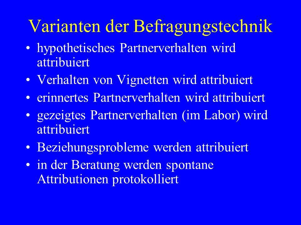 Varianten der Befragungstechnik hypothetisches Partnerverhalten wird attribuiert Verhalten von Vignetten wird attribuiert erinnertes Partnerverhalten