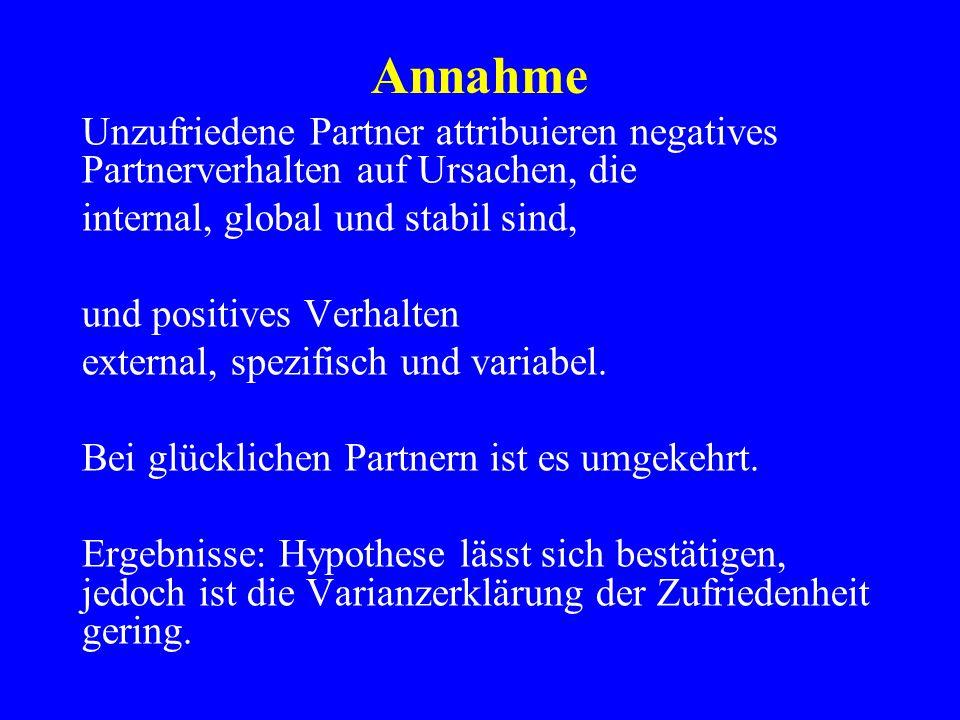 Annahme Unzufriedene Partner attribuieren negatives Partnerverhalten auf Ursachen, die internal, global und stabil sind, und positives Verhalten exter