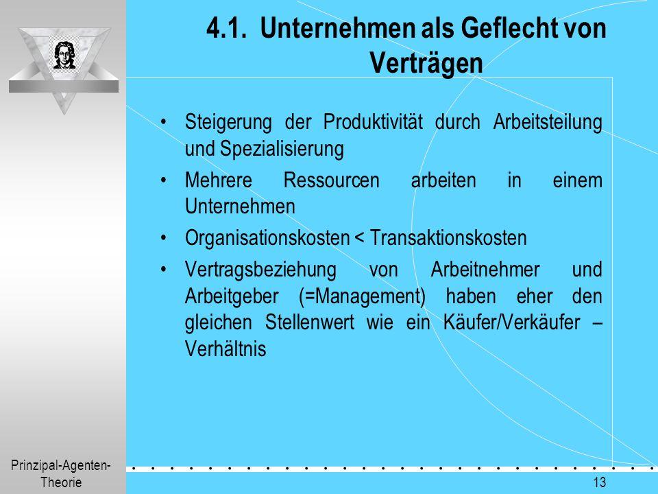 Prinzipal-Agenten- Theorie.............. 13 4.1. Unternehmen als Geflecht von Verträgen Steigerung der Produktivität durch Arbeitsteilung und Speziali