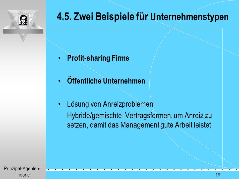 Prinzipal-Agenten- Theorie.............. 19 4.5. Zwei Beispiele für Unternehmenstypen Profit-sharing Firms Öffentliche Unternehmen Lösung von Anreizpr