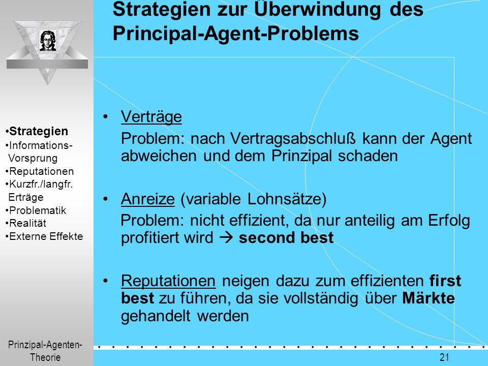 Prinzipal-Agenten- Theorie.............. 21 Strategien zur Überwindung des Principal-Agent-Problems Verträge Problem: nach Vertragsabschluß kann der A