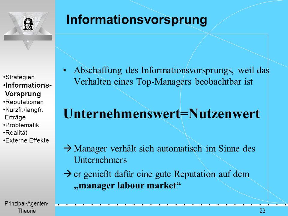 Prinzipal-Agenten- Theorie.............. 23 Informationsvorsprung Abschaffung des Informationsvorsprungs, weil das Verhalten eines Top-Managers beobac
