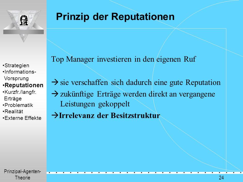 Prinzipal-Agenten- Theorie.............. 24 Prinzip der Reputationen Top Manager investieren in den eigenen Ruf  sie verschaffen sich dadurch eine gu