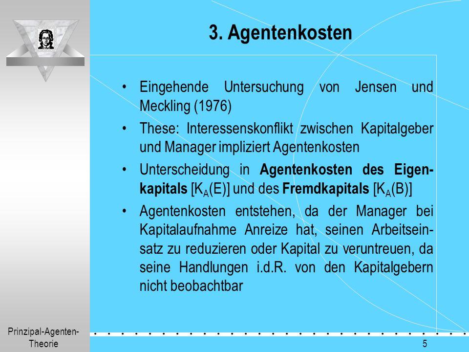 Prinzipal-Agenten- Theorie.............. 5 3. Agentenkosten Eingehende Untersuchung von Jensen und Meckling (1976) These: Interessenskonflikt zwischen