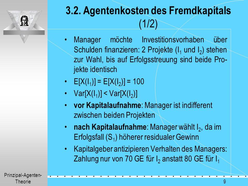 Prinzipal-Agenten- Theorie.............. 9 3.2. Agentenkosten des Fremdkapitals (1/2) Manager möchte Investitionsvorhaben über Schulden finanzieren: 2