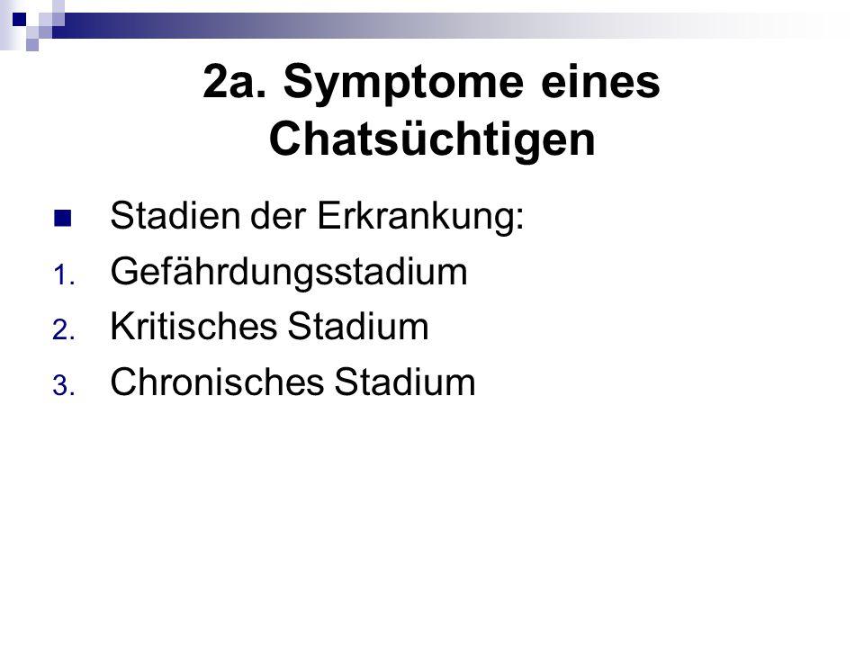 2a. Symptome eines Chatsüchtigen Stadien der Erkrankung: 1. Gefährdungsstadium 2. Kritisches Stadium 3. Chronisches Stadium