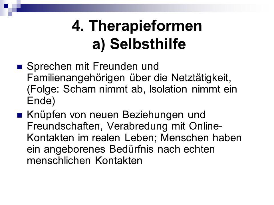 4. Therapieformen a) Selbsthilfe Sprechen mit Freunden und Familienangehörigen über die Netztätigkeit, (Folge: Scham nimmt ab, Isolation nimmt ein End