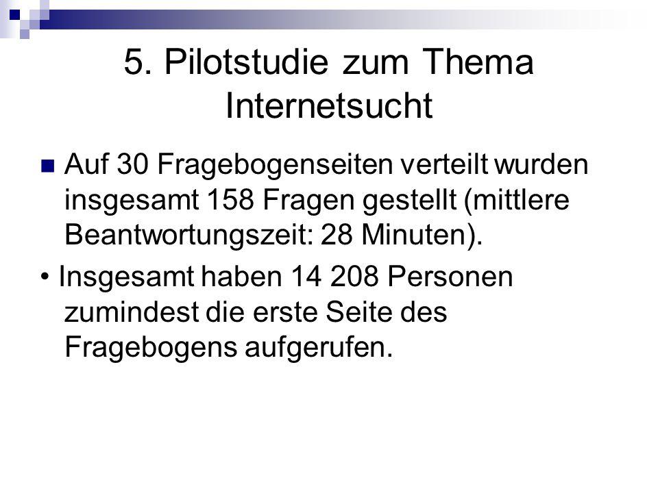 5. Pilotstudie zum Thema Internetsucht Auf 30 Fragebogenseiten verteilt wurden insgesamt 158 Fragen gestellt (mittlere Beantwortungszeit: 28 Minuten).